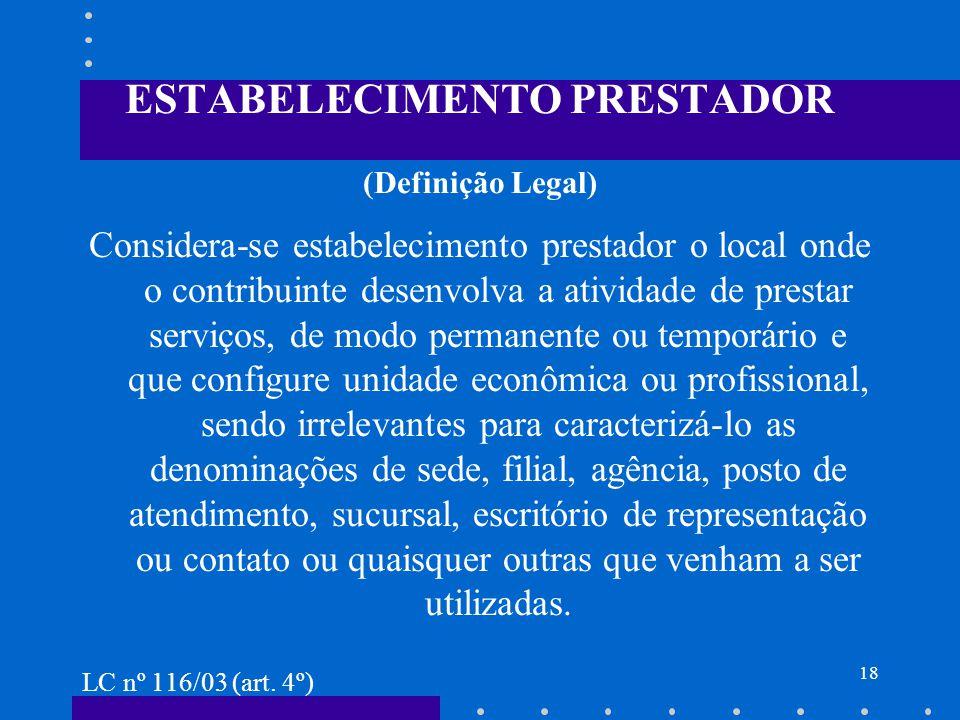 ESTABELECIMENTO PRESTADOR (Definição Legal)