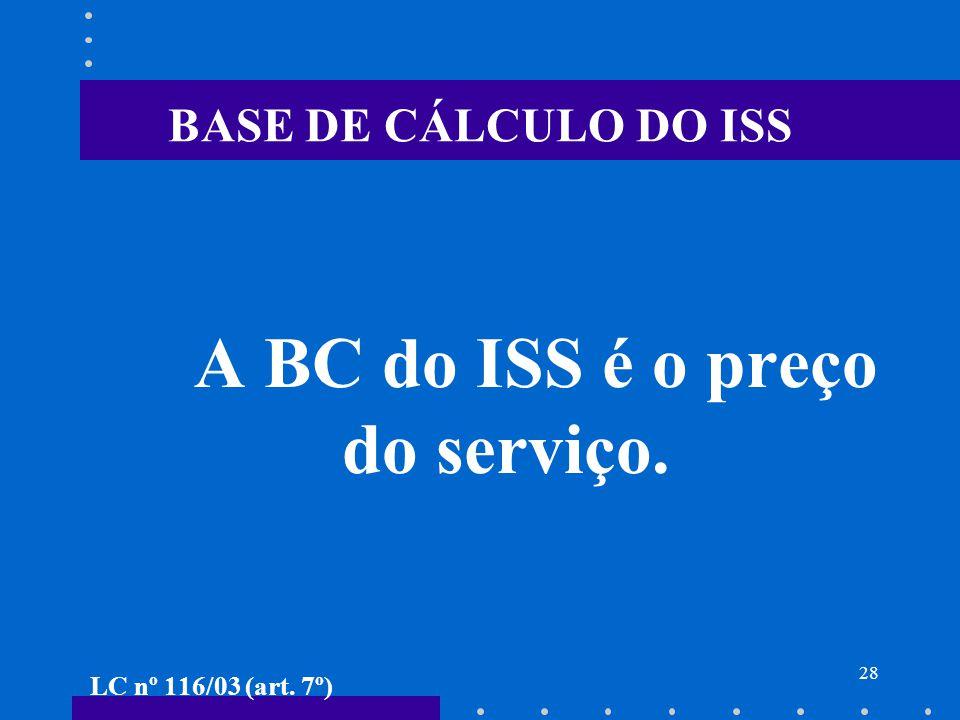 A BC do ISS é o preço do serviço.