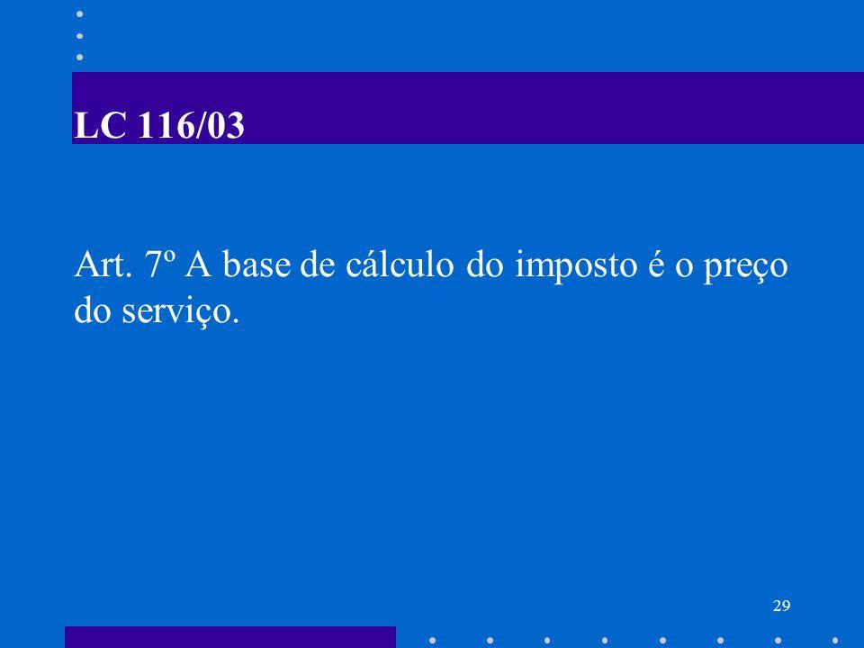 LC 116/03 Art. 7º A base de cálculo do imposto é o preço do serviço.