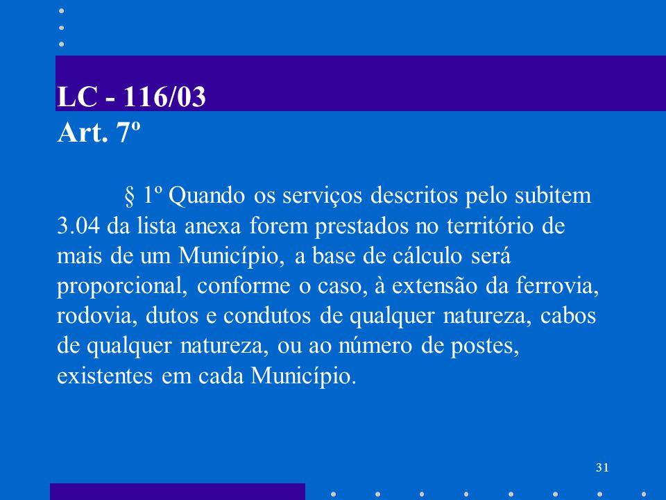 LC - 116/03 Art. 7º. § 1º Quando os serviços descritos pelo subitem 3