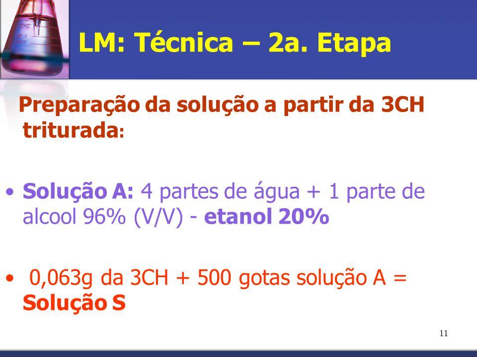 LM: Técnica – 2a. Etapa Preparação da solução a partir da 3CH triturada: Solução A: 4 partes de água + 1 parte de alcool 96% (V/V) - etanol 20%