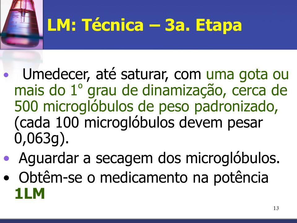 LM: Técnica – 3a. Etapa Aguardar a secagem dos microglóbulos.