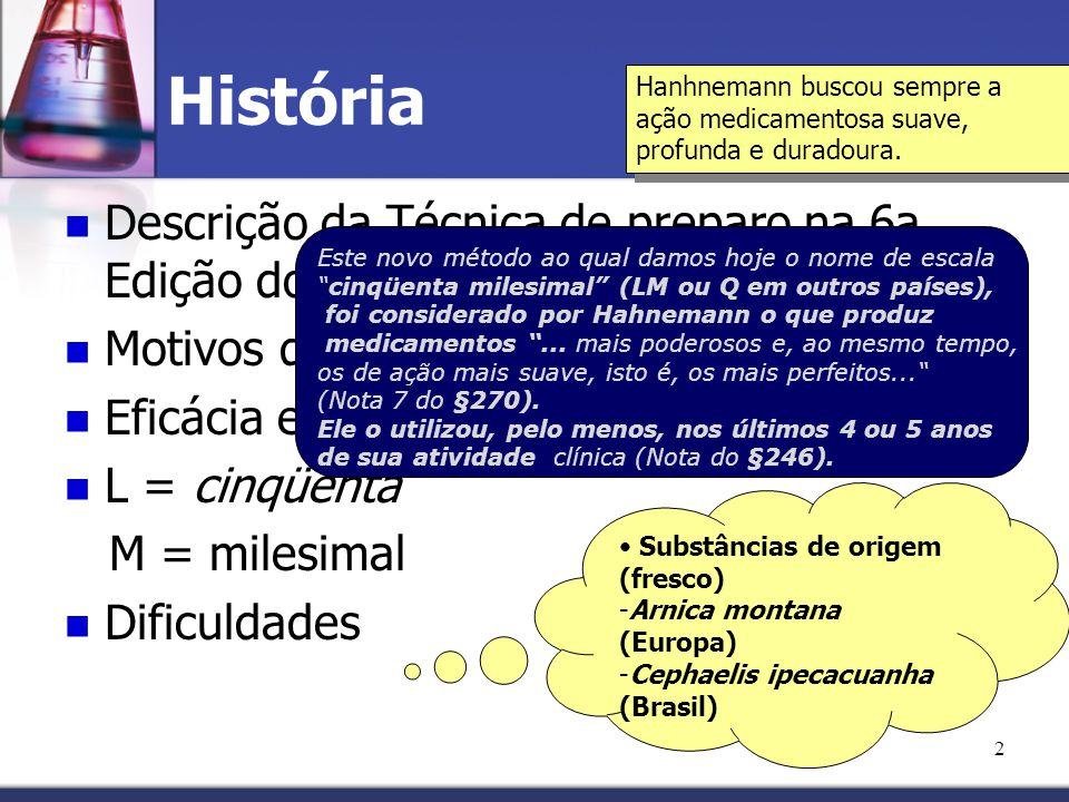 História Descrição da Técnica de preparo na 6a. Edição do Organon
