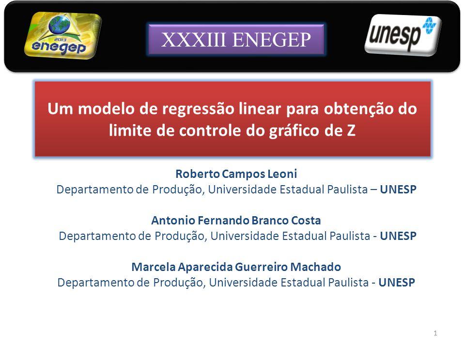 XXXIII ENEGEP Um modelo de regressão linear para obtenção do limite de controle do gráfico de Z. Roberto Campos Leoni.