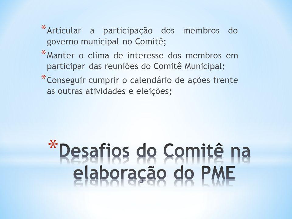 Desafios do Comitê na elaboração do PME