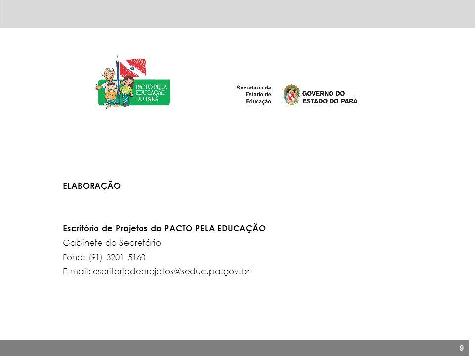 ELABORAÇÃO Escritório de Projetos do PACTO PELA EDUCAÇÃO. Gabinete do Secretário. Fone: (91) 3201 5160.