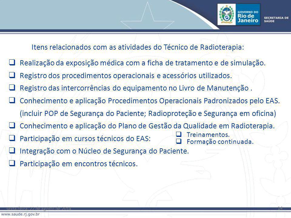 Itens relacionados com as atividades do Técnico de Radioterapia: