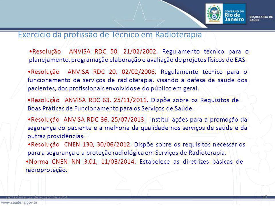 Exercício da profissão de Técnico em Radioterapia