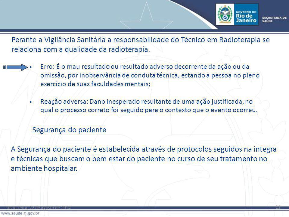 Perante a Vigilância Sanitária a responsabilidade do Técnico em Radioterapia se relaciona com a qualidade da radioterapia.