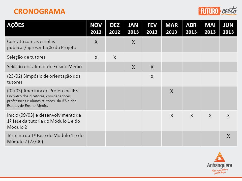 CRONOGRAMA AÇÕES NOV DEZ JAN FEV MAR ABR MAI JUN X 2012 2013