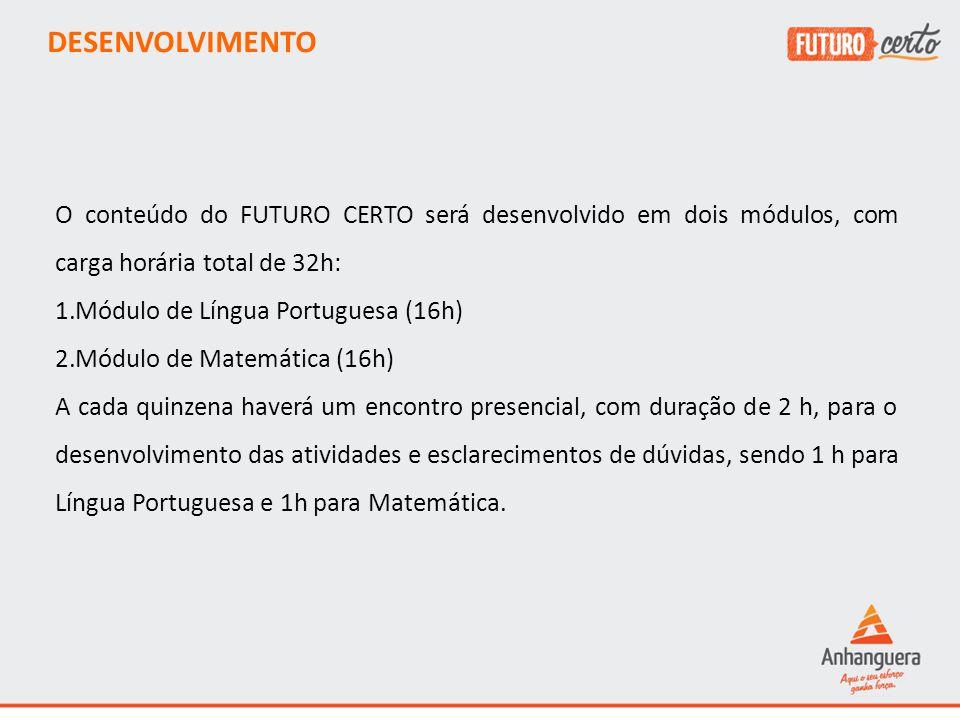 DESENVOLVIMENTO O conteúdo do FUTURO CERTO será desenvolvido em dois módulos, com carga horária total de 32h: