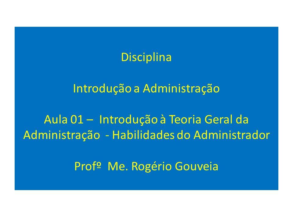 Disciplina Introdução a Administração Aula 01 – Introdução à Teoria Geral da Administração - Habilidades do Administrador Profº Me.