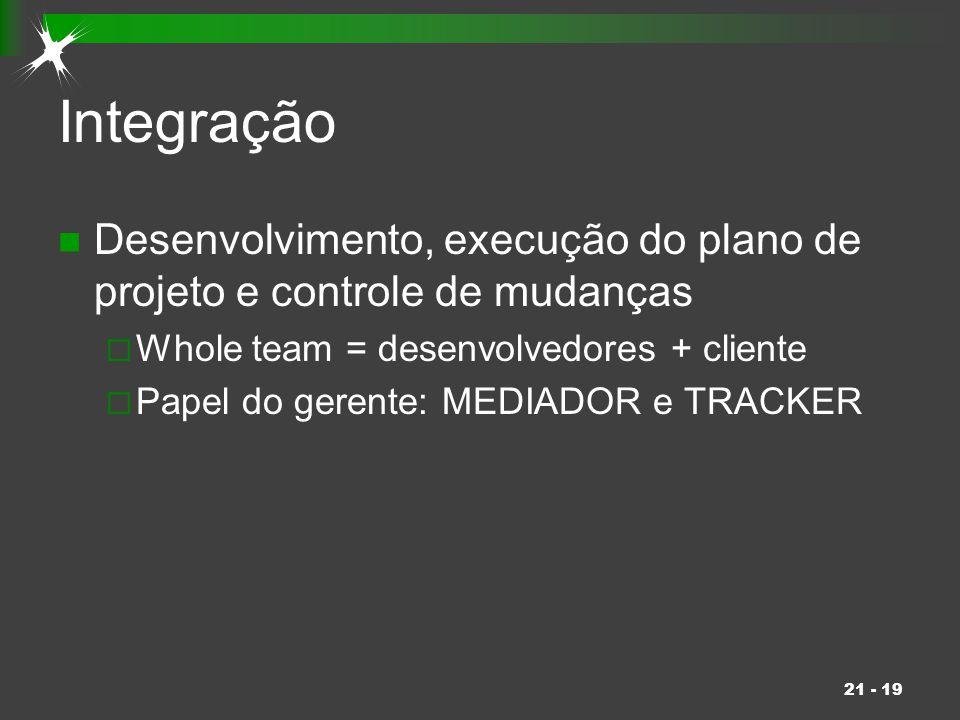 Integração Desenvolvimento, execução do plano de projeto e controle de mudanças. Whole team = desenvolvedores + cliente.
