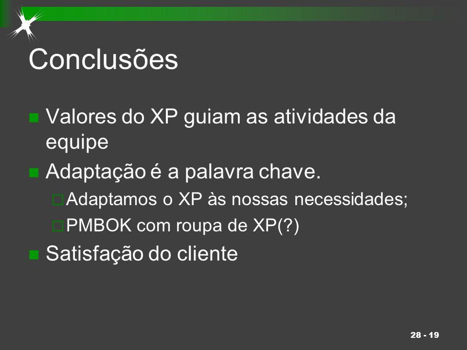 Conclusões Valores do XP guiam as atividades da equipe