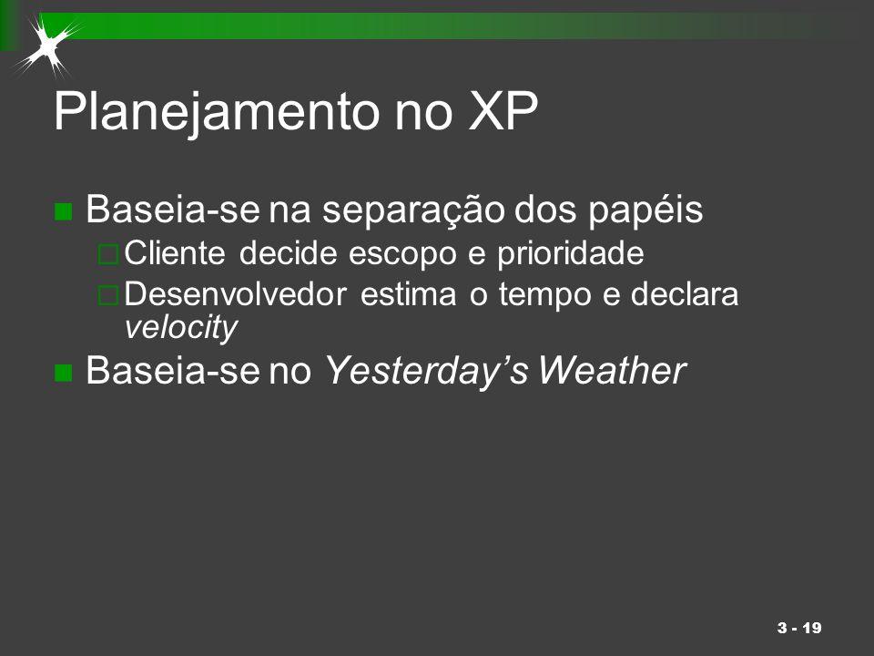 Planejamento no XP Baseia-se na separação dos papéis