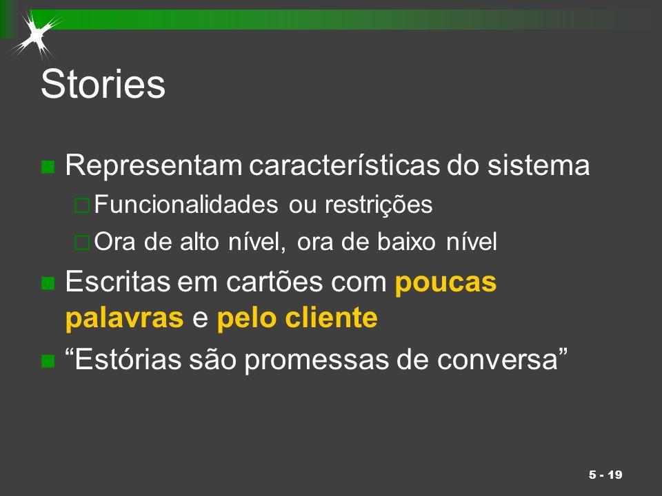 Stories Representam características do sistema