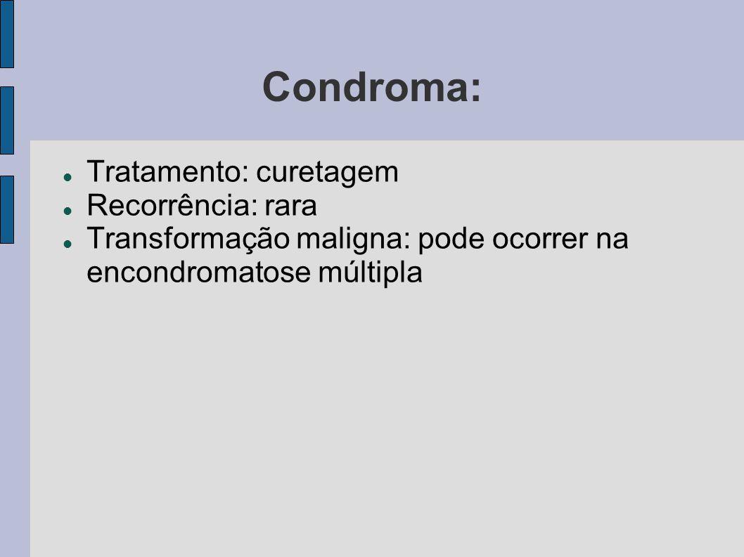 Condroma: Tratamento: curetagem Recorrência: rara