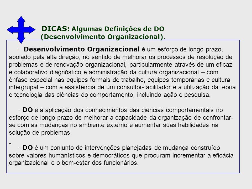 DICAS: Algumas Definições de DO (Desenvolvimento Organizacional).