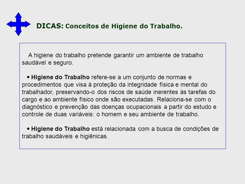 DICAS: Conceitos de Higiene do Trabalho.
