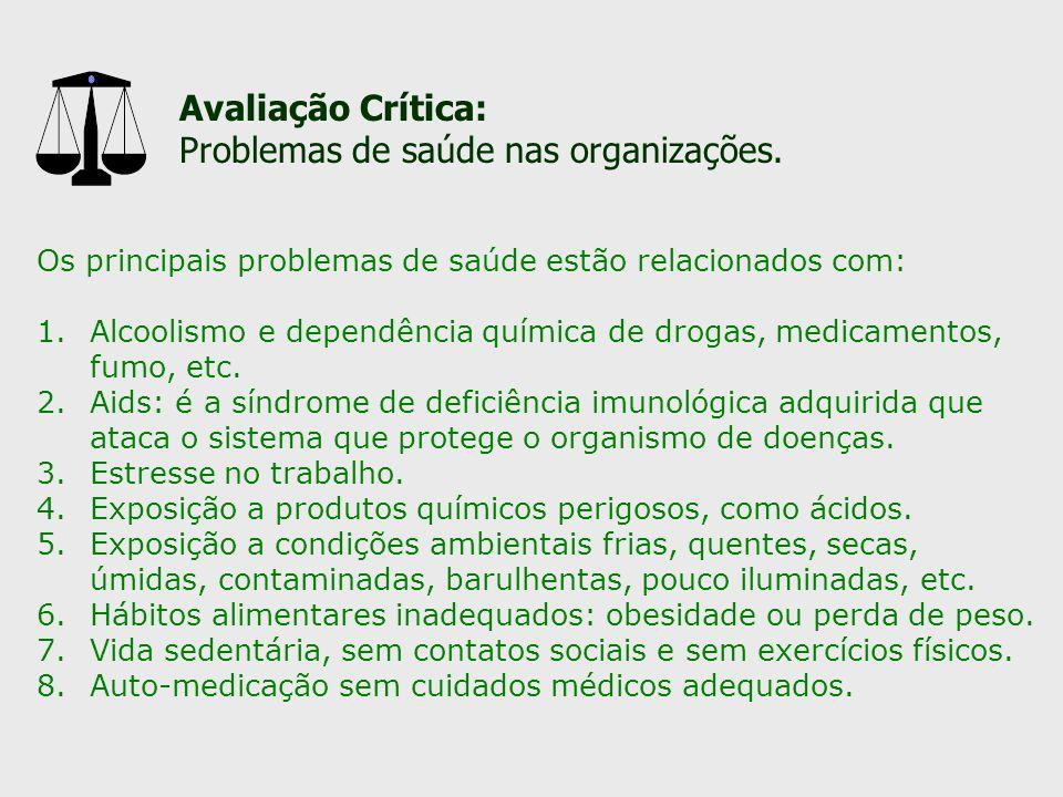 Problemas de saúde nas organizações.