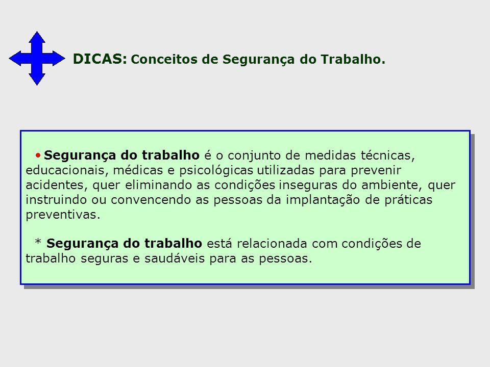 DICAS: Conceitos de Segurança do Trabalho.