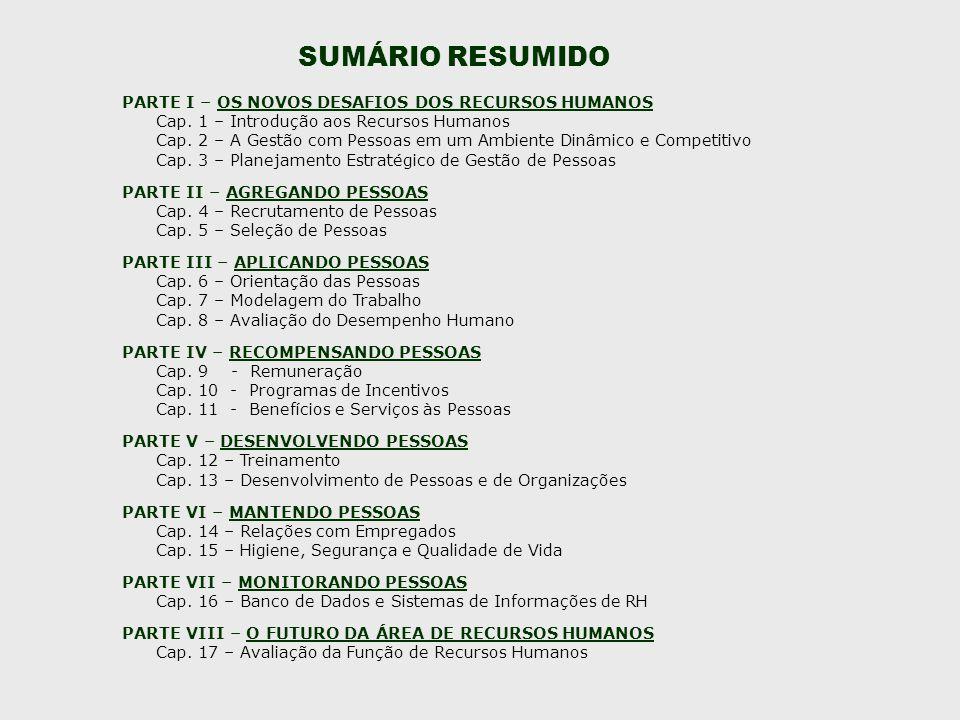 SUMÁRIO RESUMIDO PARTE I – OS NOVOS DESAFIOS DOS RECURSOS HUMANOS