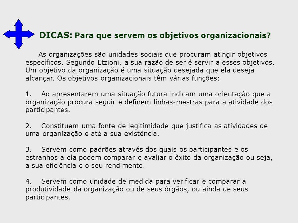 DICAS: Para que servem os objetivos organizacionais