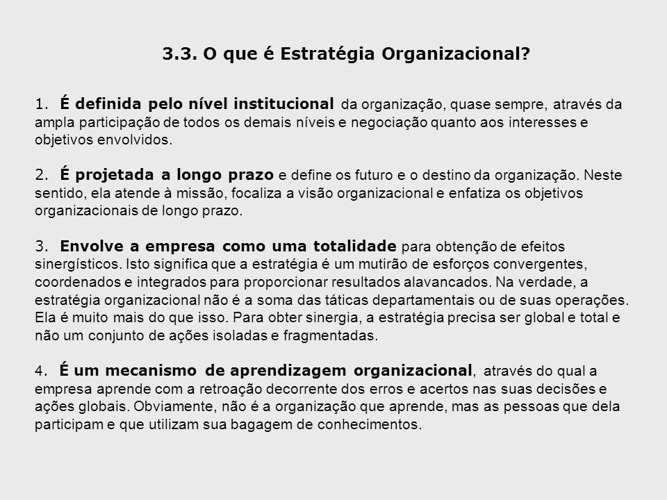 3.3. O que é Estratégia Organizacional