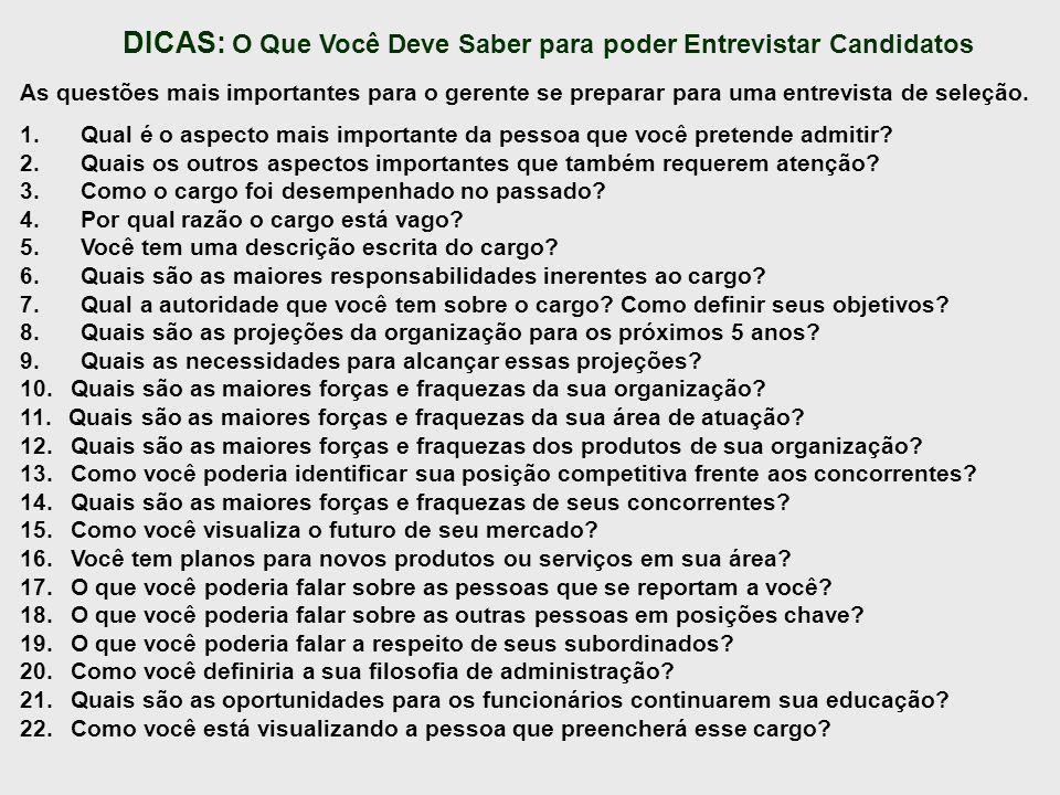 DICAS: O Que Você Deve Saber para poder Entrevistar Candidatos