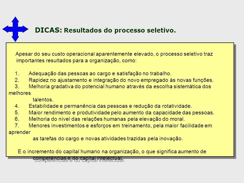 DICAS: Resultados do processo seletivo.