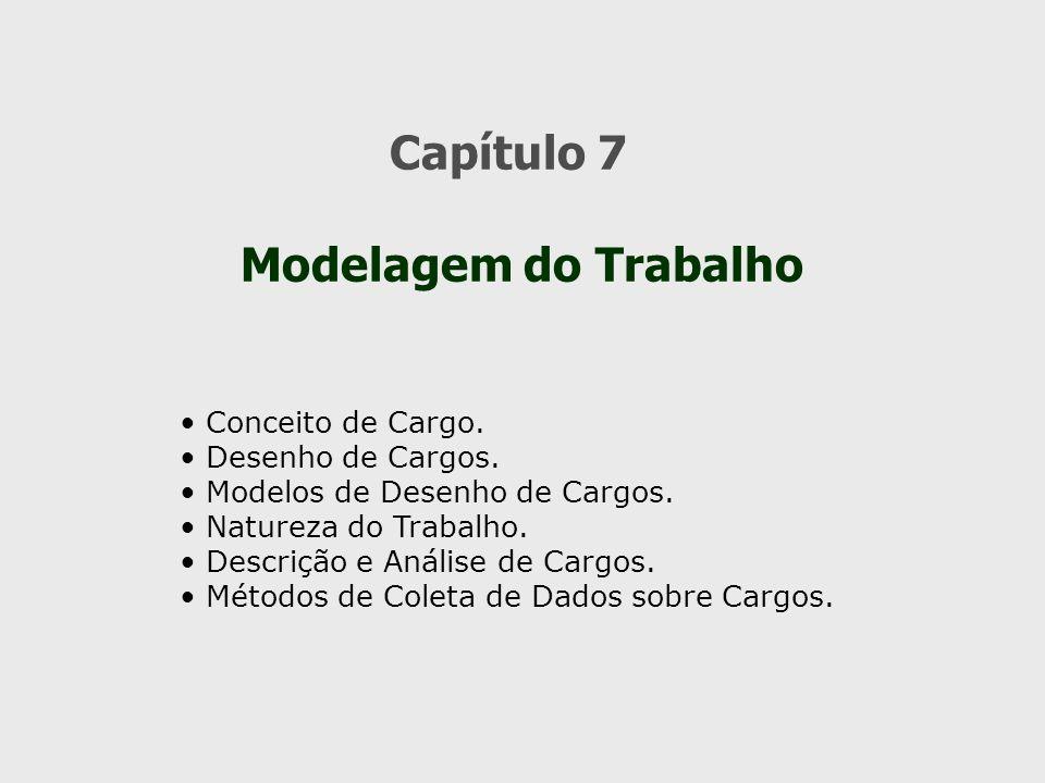 Capítulo 7 Modelagem do Trabalho Conceito de Cargo. Desenho de Cargos.