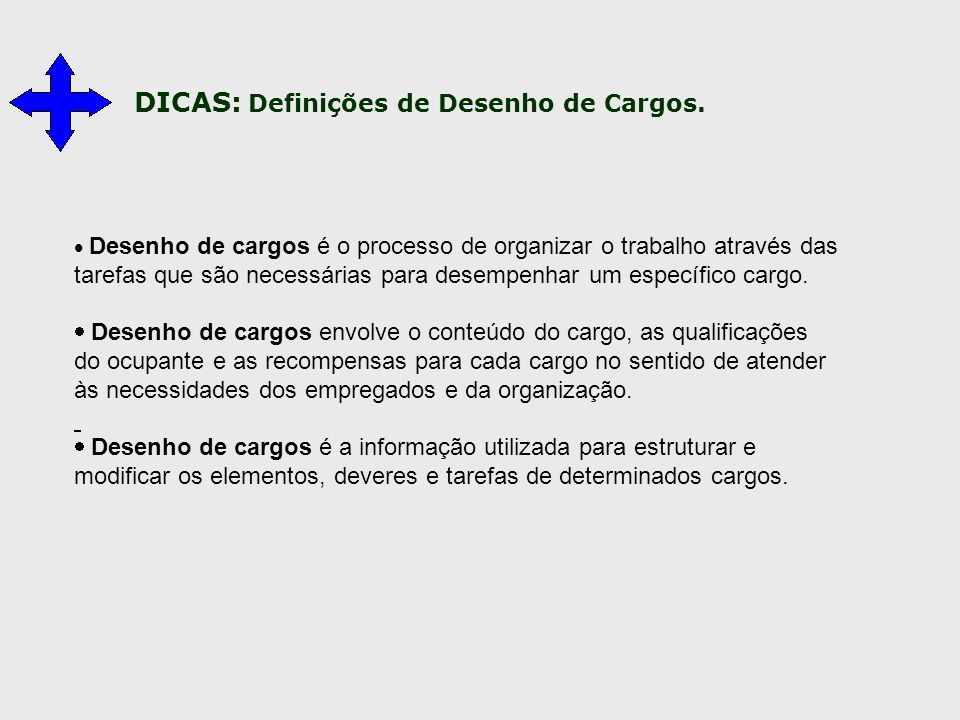 DICAS: Definições de Desenho de Cargos.