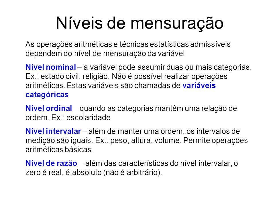 Níveis de mensuração As operações aritméticas e técnicas estatísticas admissíveis dependem do nível de mensuração da variável.