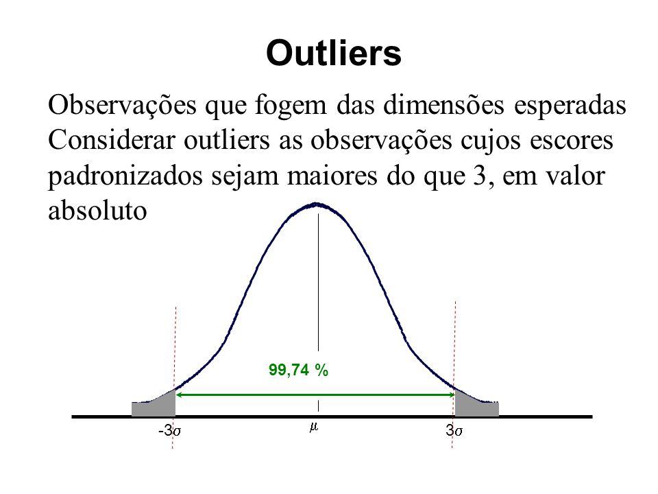 Outliers Observações que fogem das dimensões esperadas