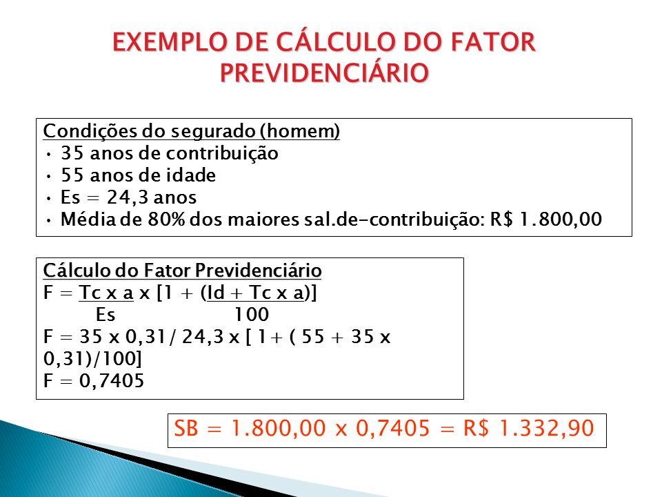 EXEMPLO DE CÁLCULO DO FATOR PREVIDENCIÁRIO