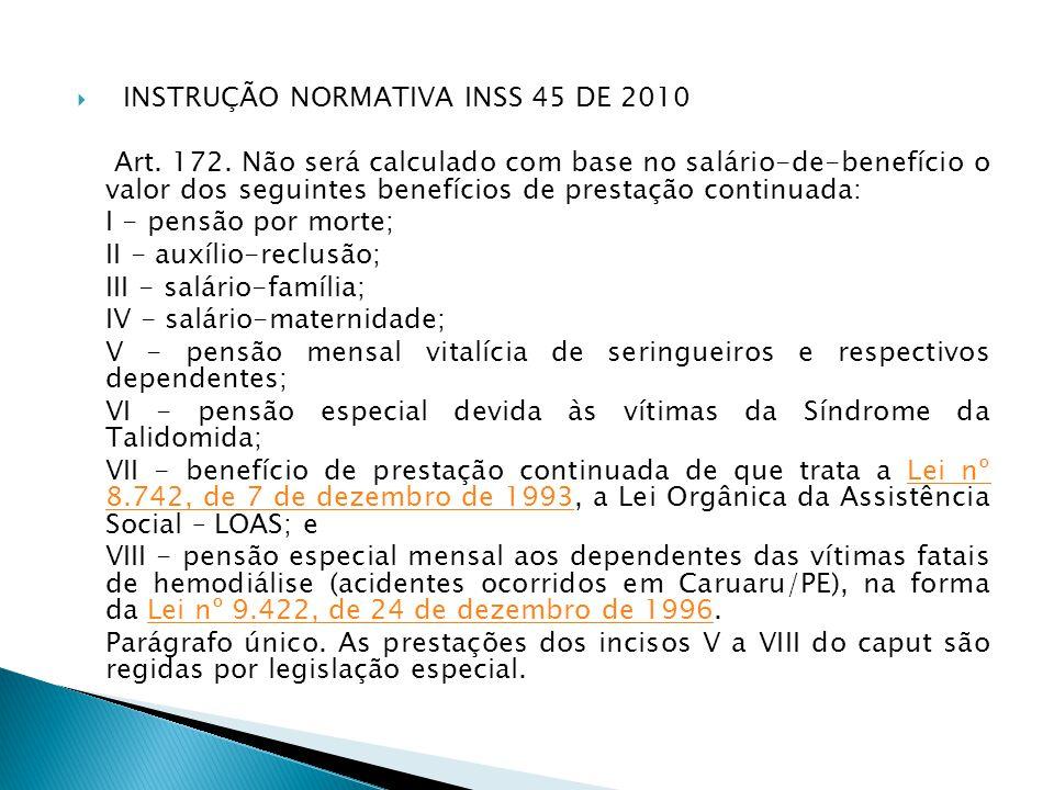 INSTRUÇÃO NORMATIVA INSS 45 DE 2010
