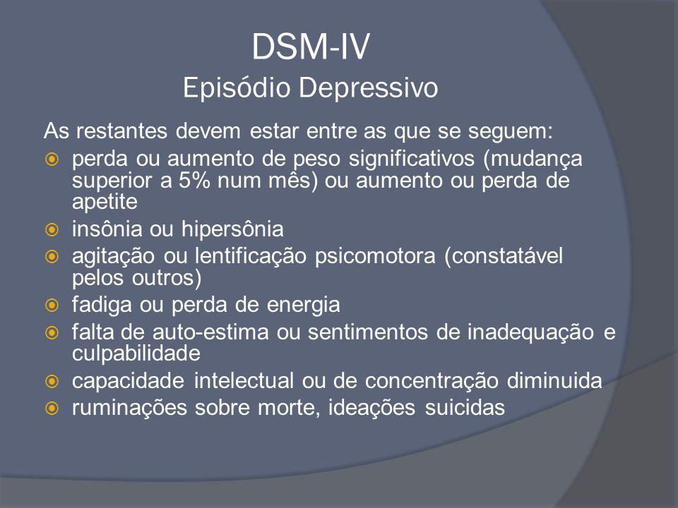 DSM-IV Episódio Depressivo