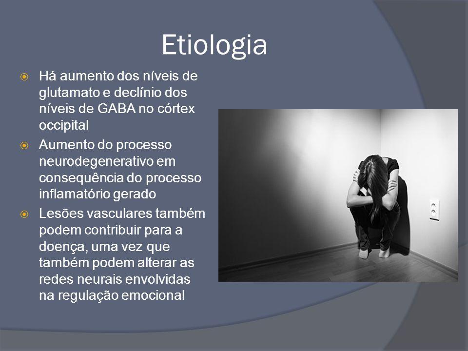 Etiologia Há aumento dos níveis de glutamato e declínio dos níveis de GABA no córtex occipital.