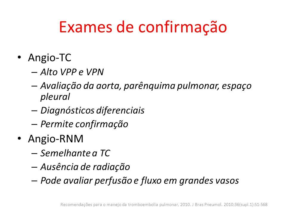 Exames de confirmação Angio-TC Angio-RNM Alto VPP e VPN
