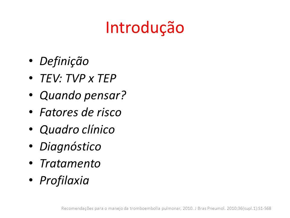 Introdução Definição TEV: TVP x TEP Quando pensar Fatores de risco