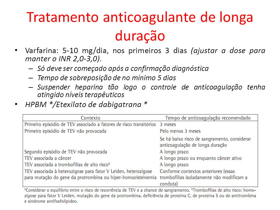 Tratamento anticoagulante de longa duração