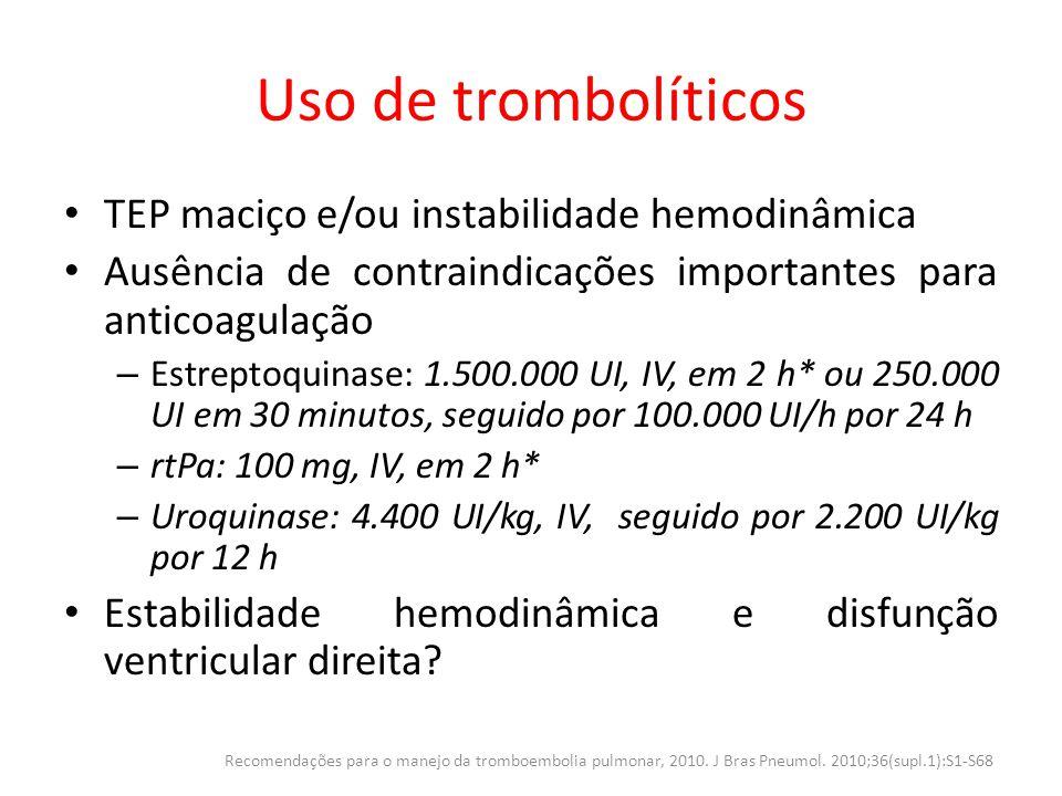 Uso de trombolíticos TEP maciço e/ou instabilidade hemodinâmica