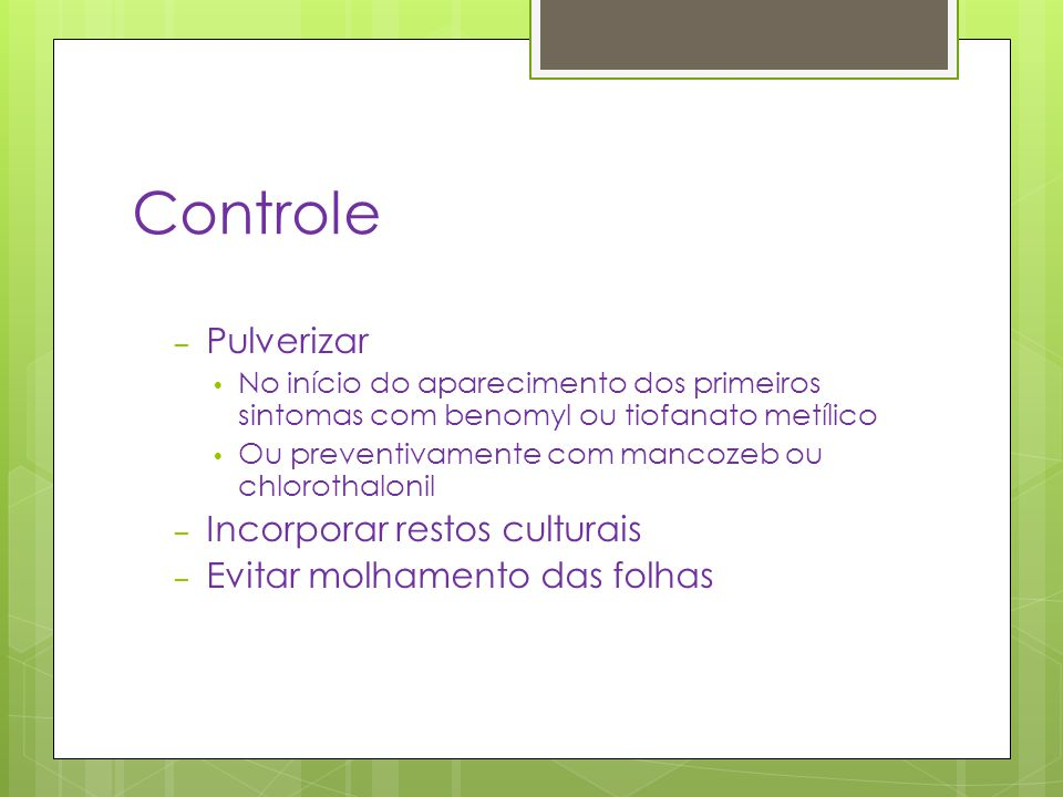 Controle Pulverizar Incorporar restos culturais