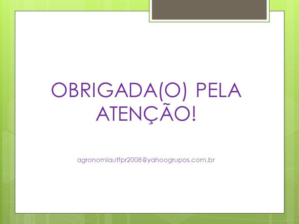 OBRIGADA(O) PELA ATENÇÃO!