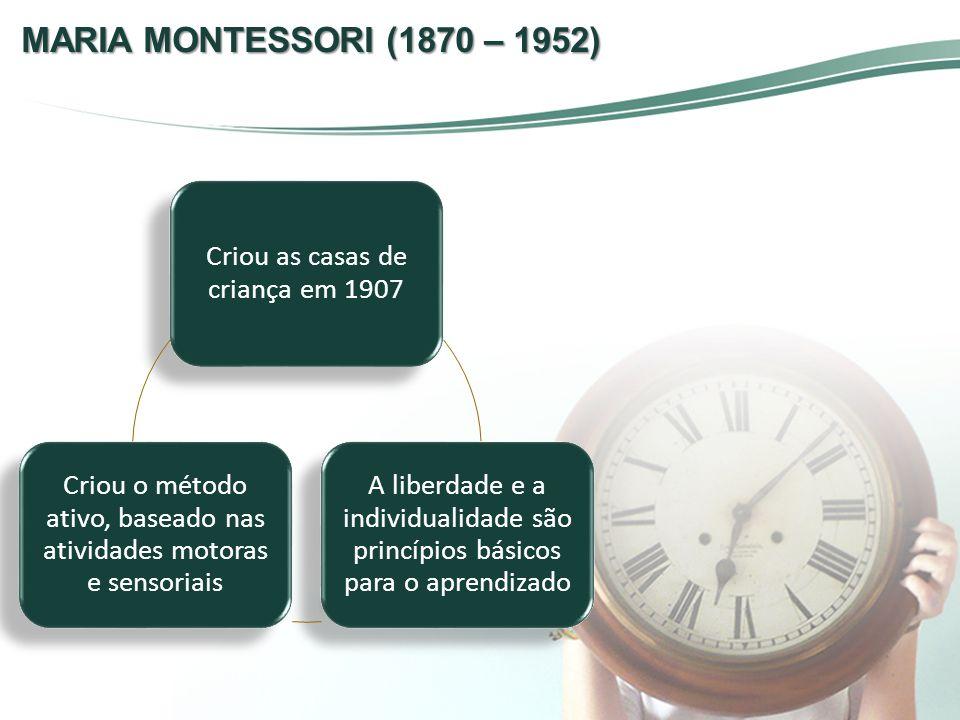 MARIA MONTESSORI (1870 – 1952) Criou as casas de criança em 1907