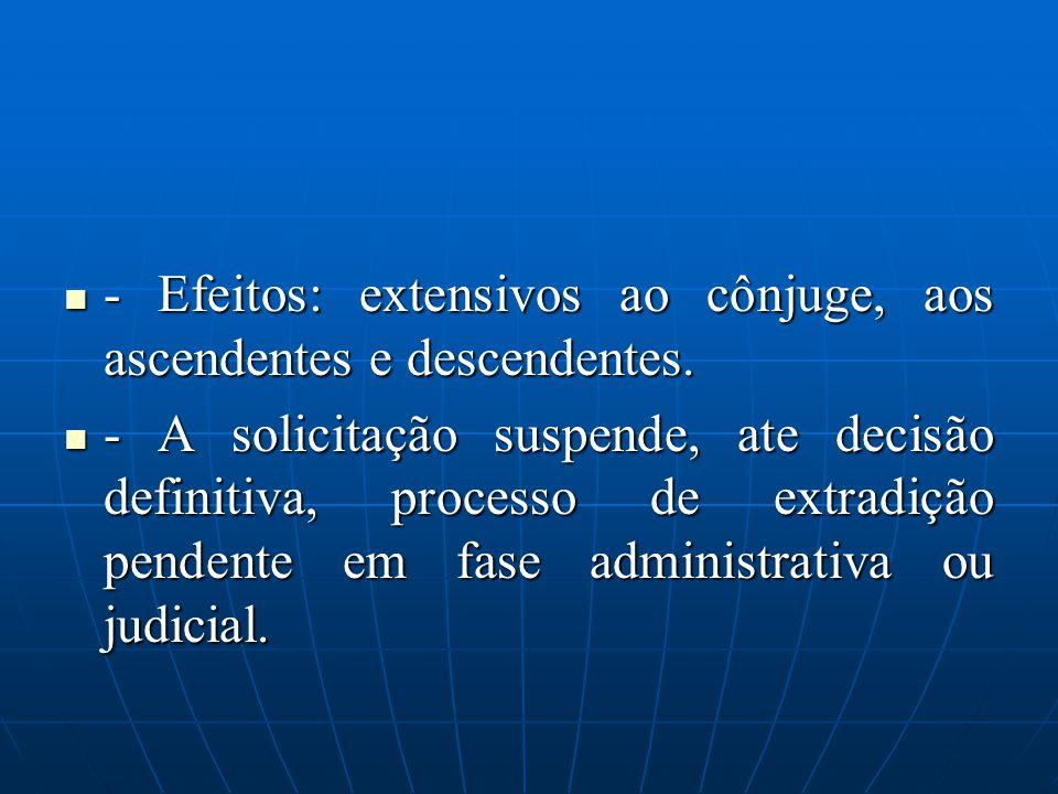 - Efeitos: extensivos ao cônjuge, aos ascendentes e descendentes.
