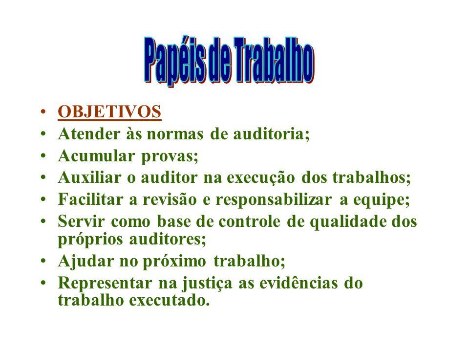 Papéis de Trabalho OBJETIVOS. Atender às normas de auditoria; Acumular provas; Auxiliar o auditor na execução dos trabalhos;