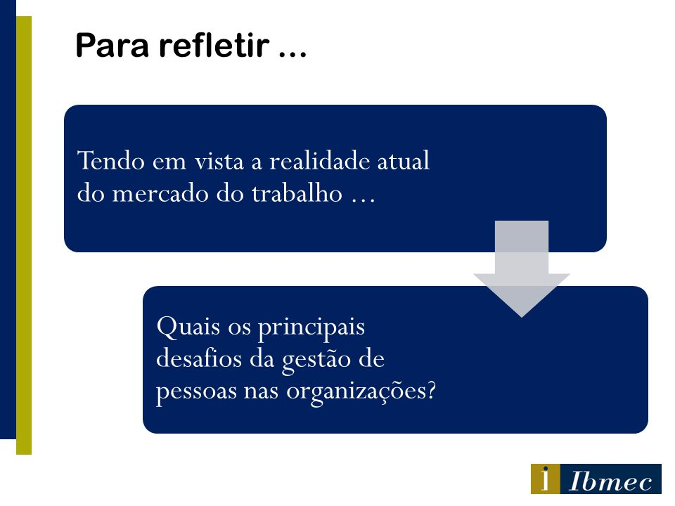 Para refletir ... Tendo em vista a realidade atual do mercado do trabalho ... Quais os principais desafios da gestão de pessoas nas organizações