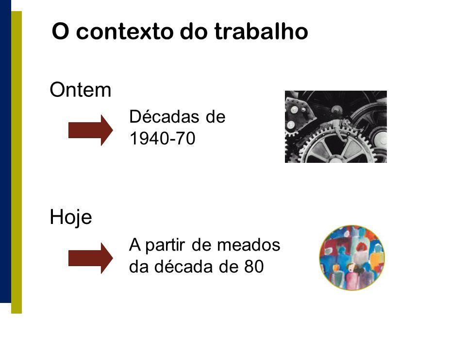 O contexto do trabalho Ontem Hoje Décadas de 1940-70
