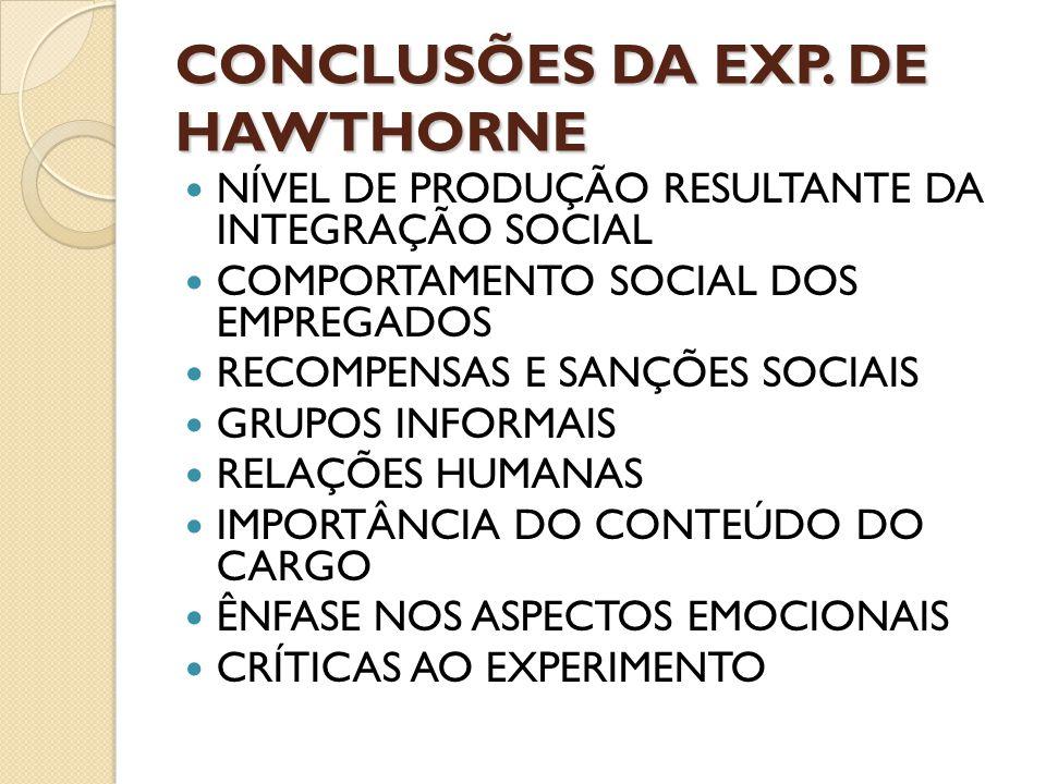 CONCLUSÕES DA EXP. DE HAWTHORNE
